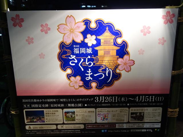福岡城さくらまつり2015(夜桜)上之橋1