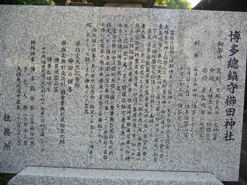 櫛田神社説明碑